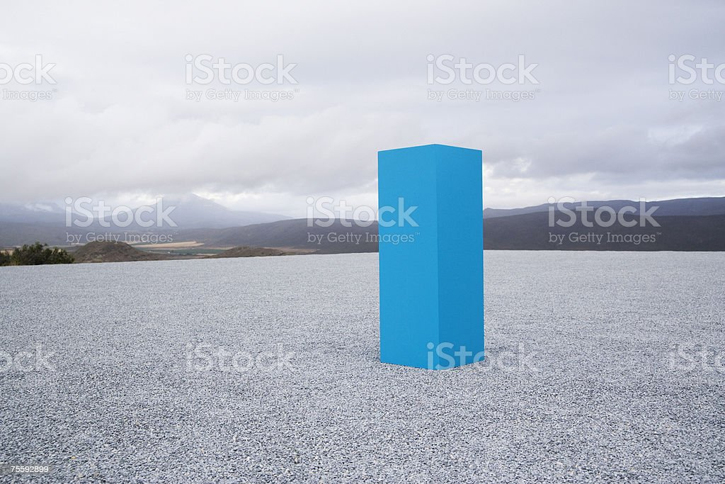 Blue box outdoors stock photo