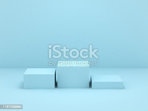 istock Blue box podium 1167538860