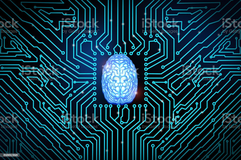 blue brain on circuit board stock photo