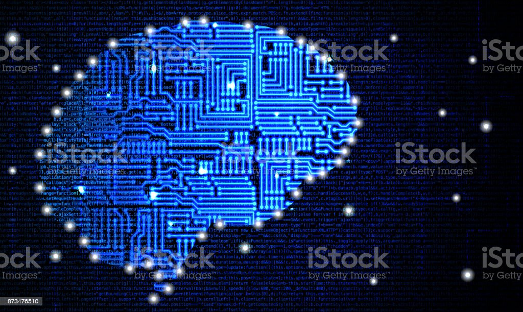 Blue brain shape with circuit board texture in front of computercode - foto stock
