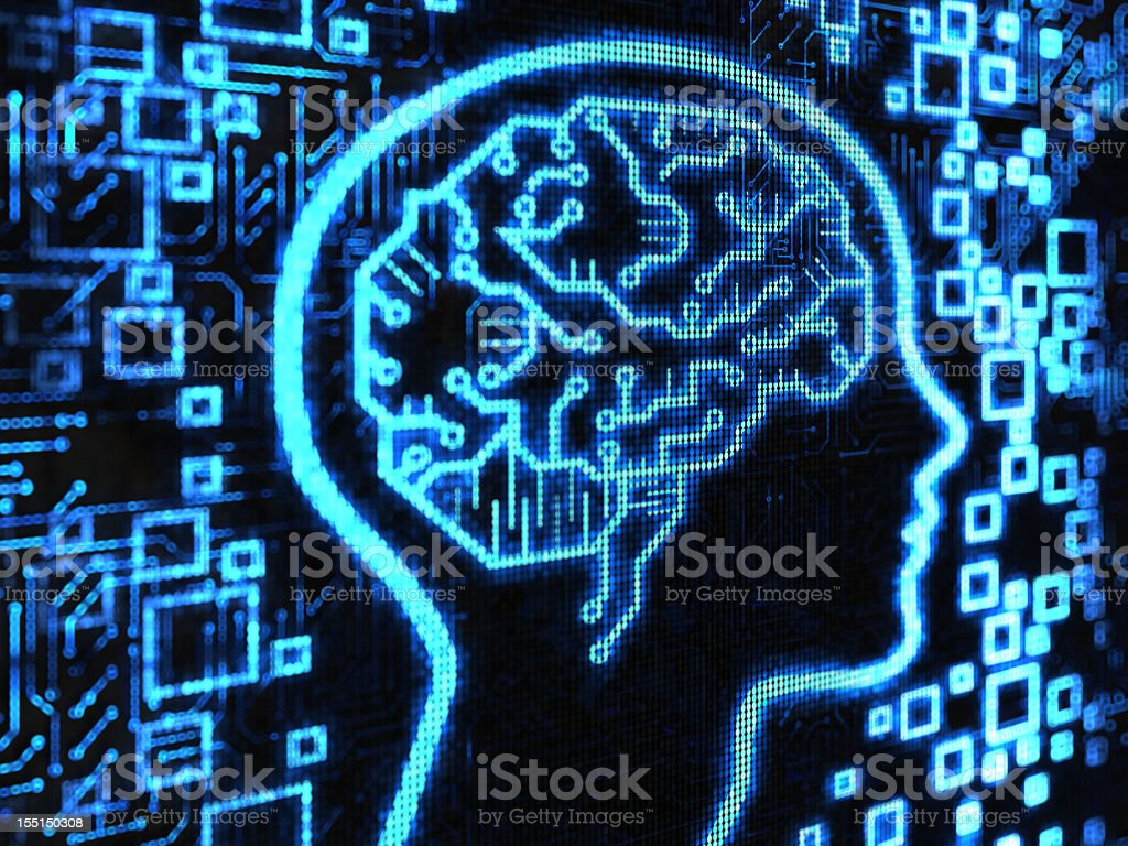 Blue brain surrounded by blue motherboard items royalty-free stock photo