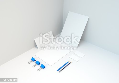 istock Blue Branded Stationery and Accessories Mockup. 3d rendering. 1067033460