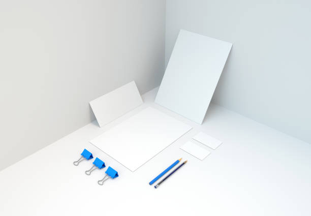 Blue Branded Stationery and Accessories Mockup. 3d rendering. stock photo