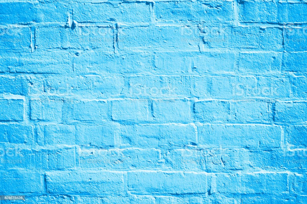 Blue Brick Wall Background Texture stock photo