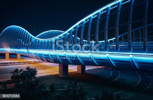 istock Blue bridge at night, Dubai 924212044