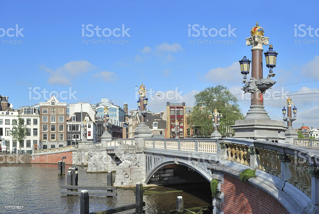Blue Bridge  in Amsterdam royalty-free stock photo