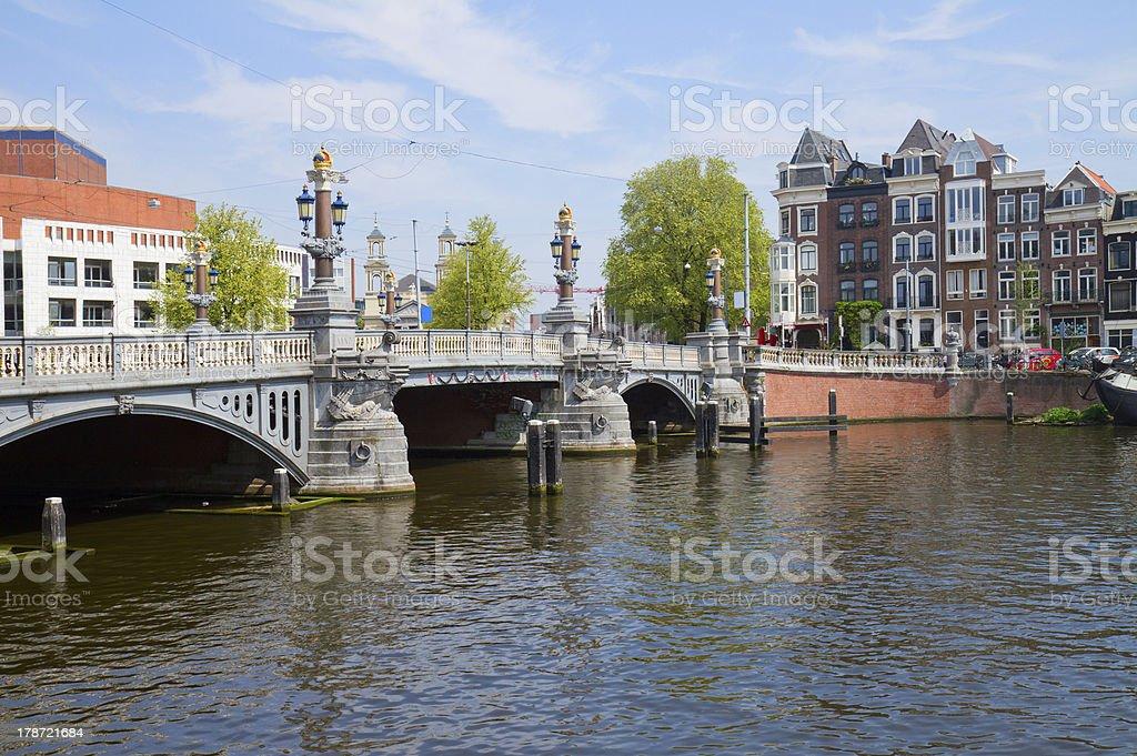 Blue bridge of  Amsterdam royalty-free stock photo