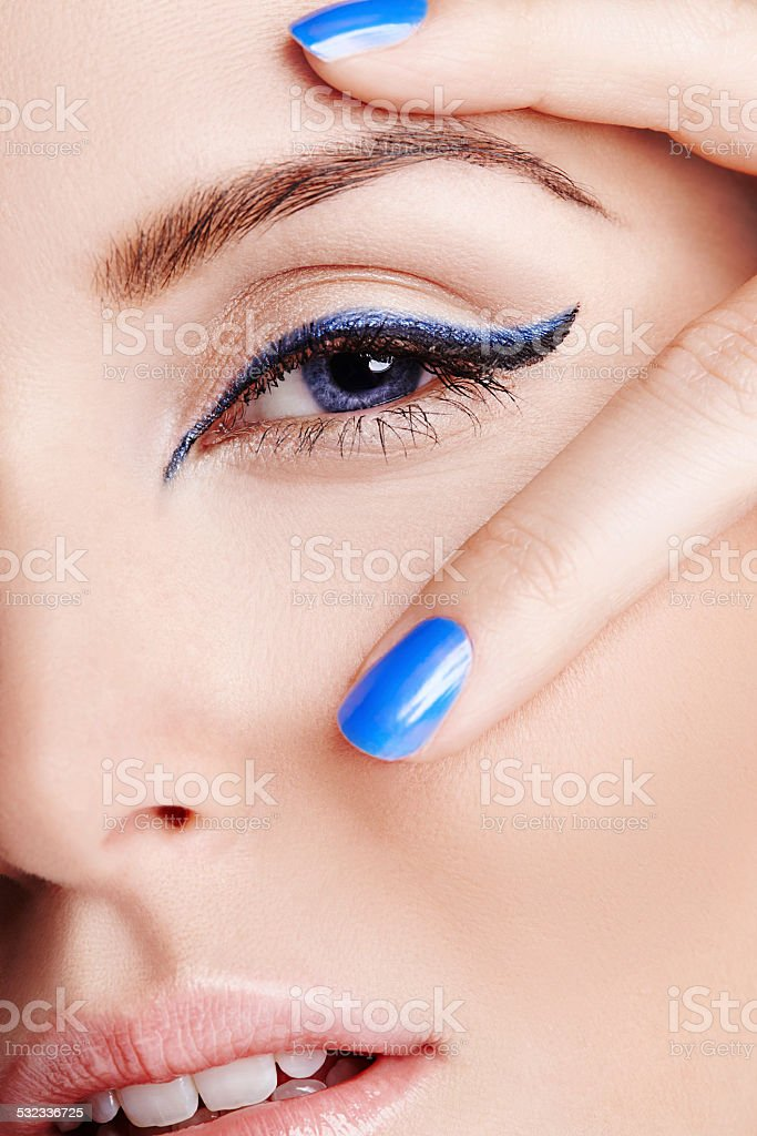 Blue brings out the eyes stock photo