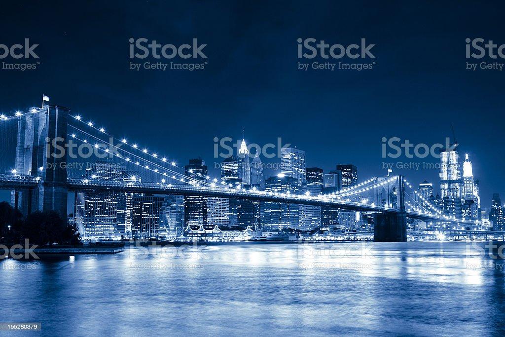 Blue Brooklyn bridge, New York City stock photo