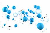 Blue bubbles floating