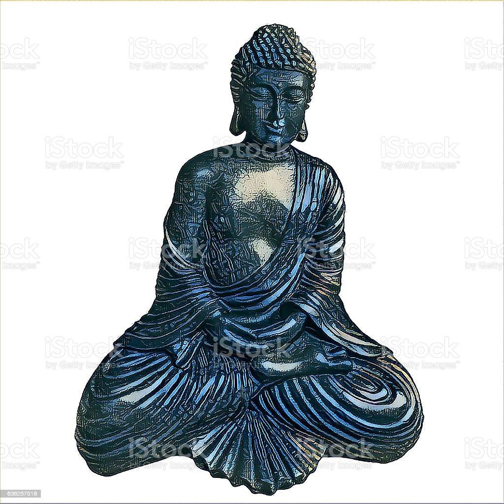 Blue Buddha isolated on white background Filter  drawing stock photo