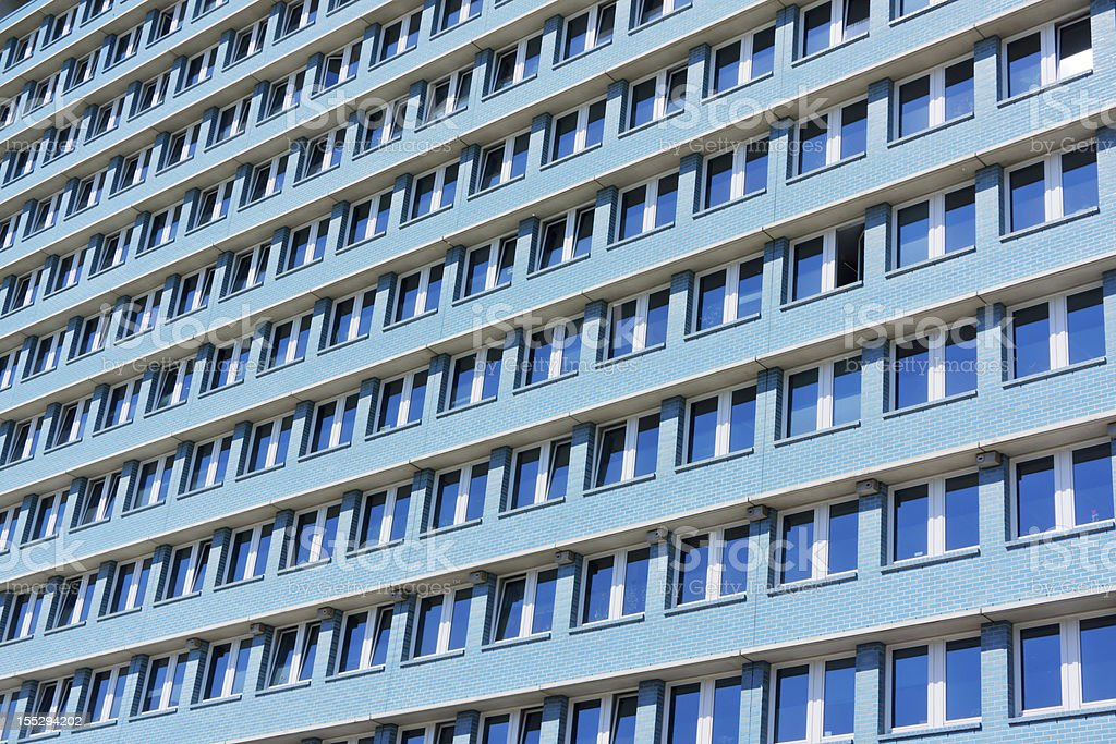 Blue building in former GDR Berlin stock photo