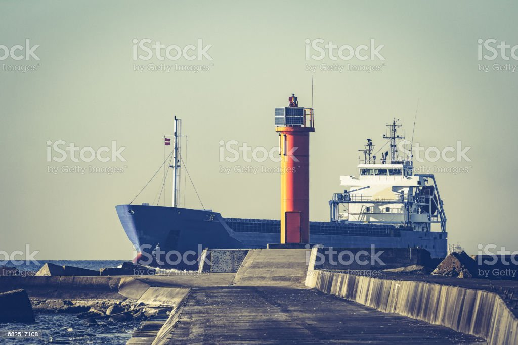 Blue bulk carrier royalty-free stock photo