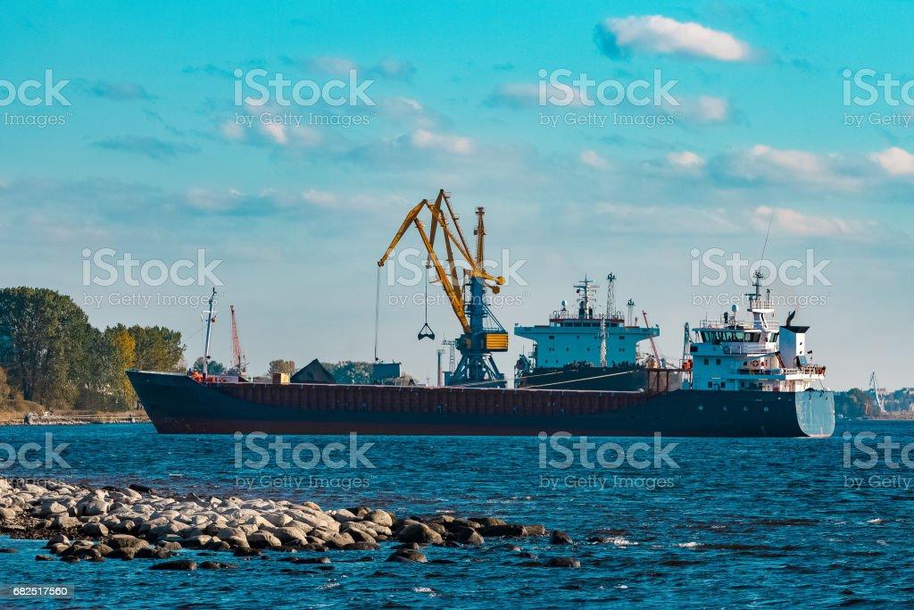 Blue bulk carrier royalty-free stock photo