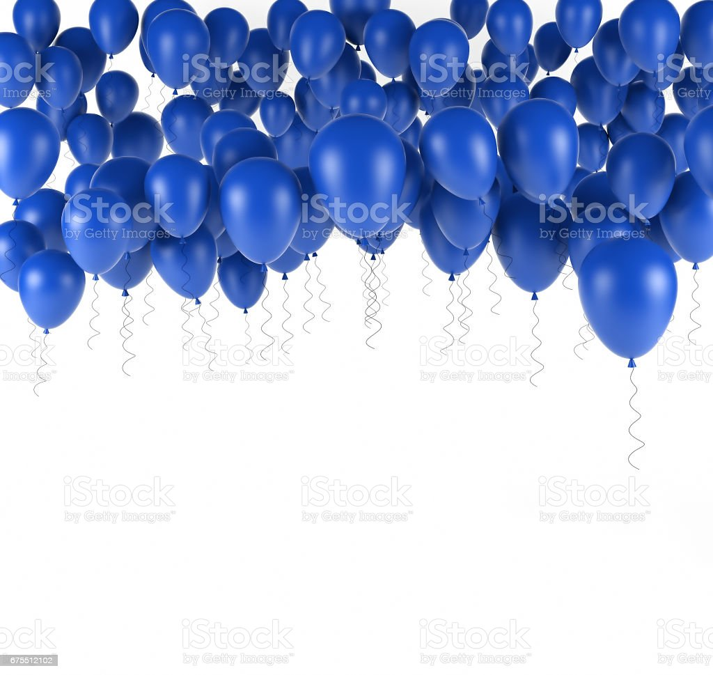 Blue bunch of Birthday balloons isolated in white. 3d render stock photo