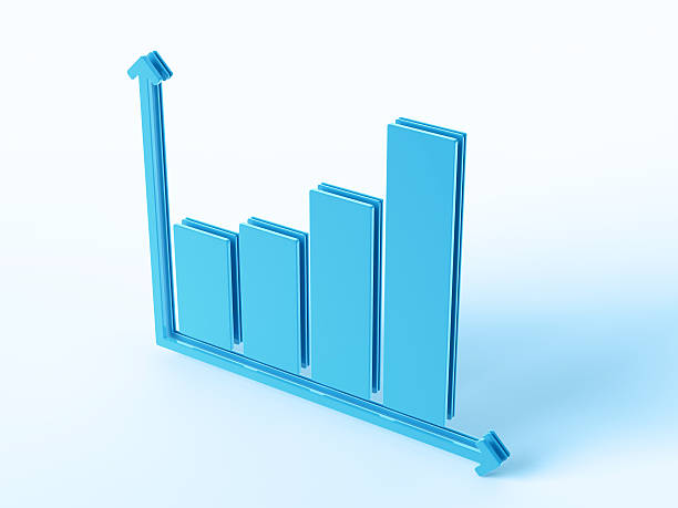 Blue Business Bar Chart 3D Render of a bar chart symbol. Concept image for Business Related Services. Very high resolution available! blue 3d business NOT map NOT background stock pictures, royalty-free photos & images