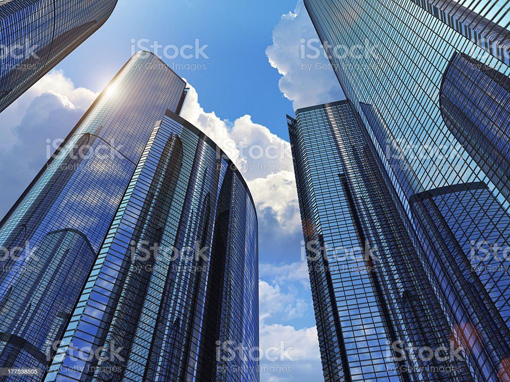 Blue business buildings stock photo