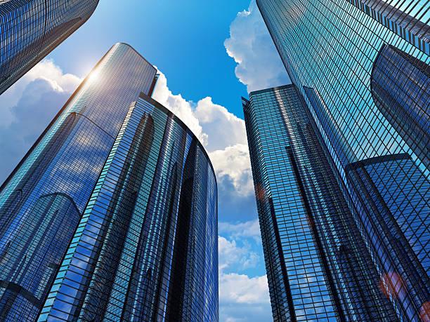 Blue business buildings stock photo