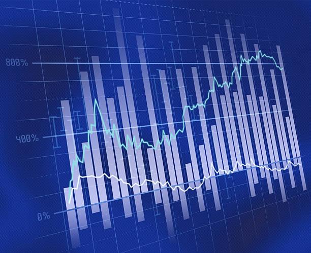 blu business grafico - diagramma a colonne foto e immagini stock