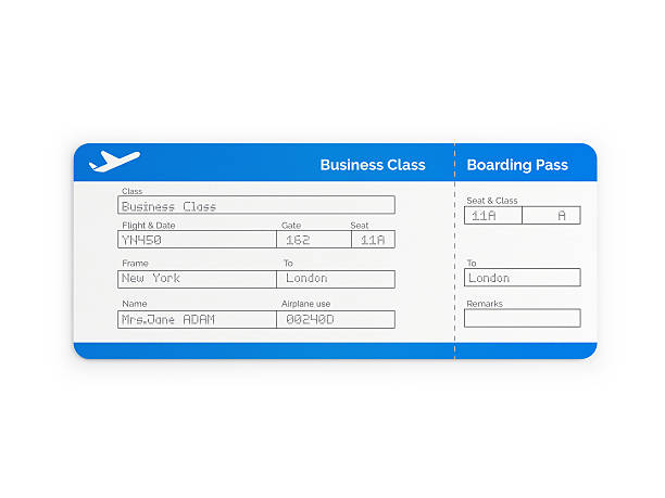 blue business class  airline ticket - aeroplane ticket stock photos and pictures