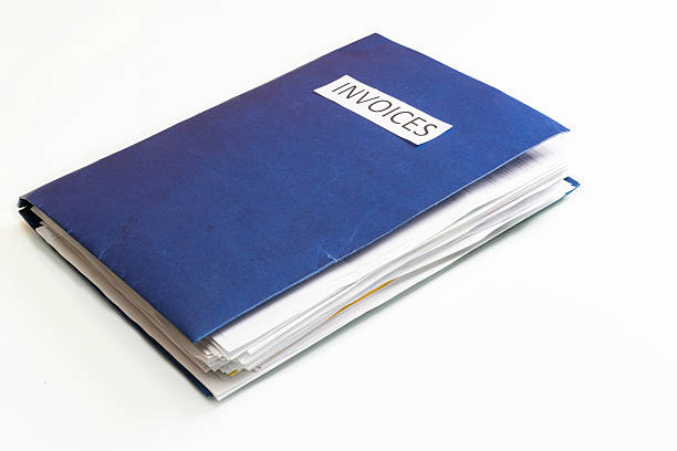 blue business-datei, die mehrere rechnungen - gefüllte bon bons stock-fotos und bilder
