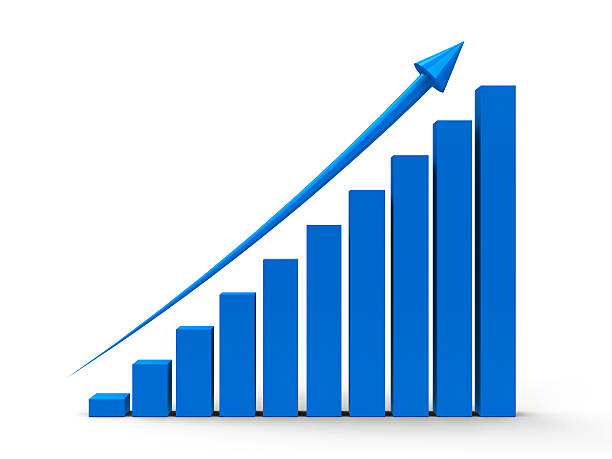 Blue business graph with an arrow showing growth stock photo