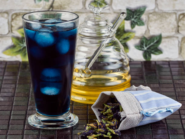 Blue butterfly pea flower iced tea stock photo
