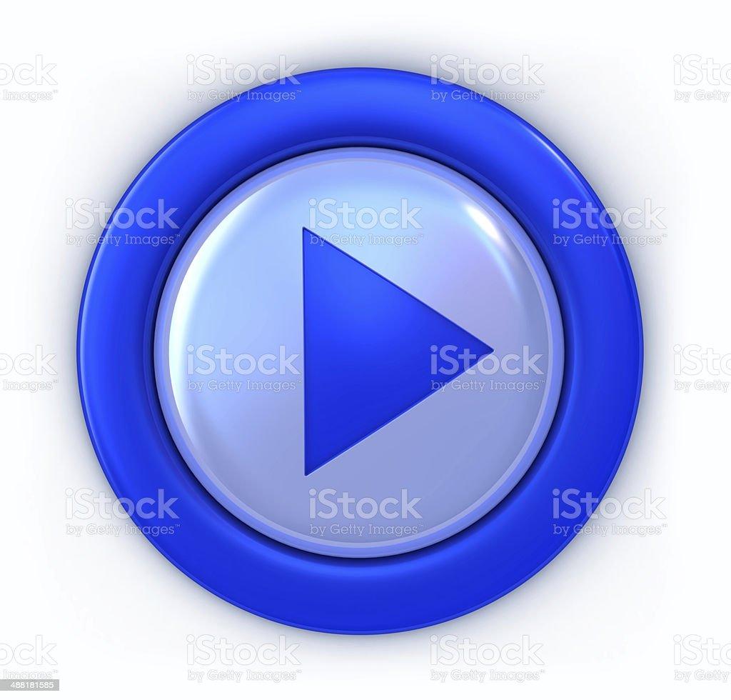 Botón azul Play - foto de stock