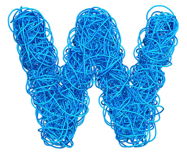 Blue Cable Alphabet alphabet  for communication and network letter w stock pictures, royalty-free photos & images