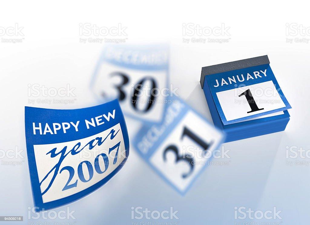 Blue calendar new year 2007 January 1st royalty-free stock photo