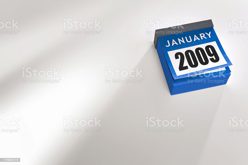 Blue calendar showing January 2009 royalty-free stock photo