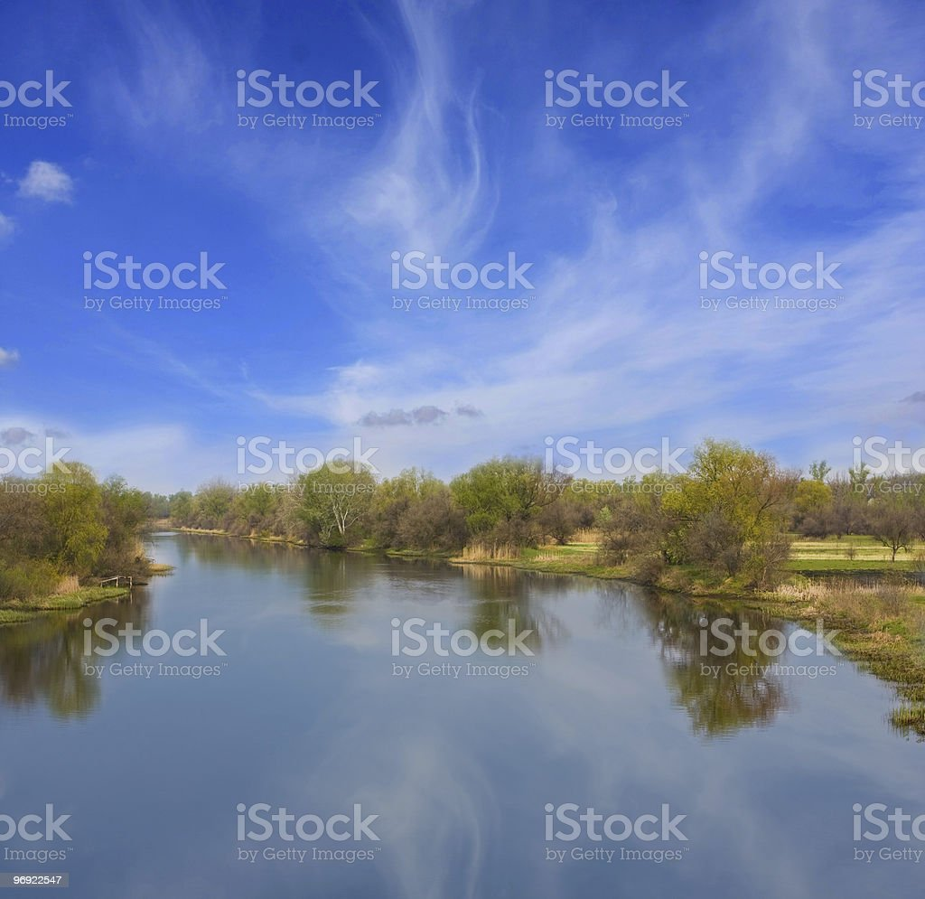 Blue calmness on river royalty-free stock photo