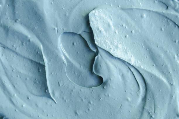 블루 캄브리아기 성형 점토 (얼굴 마스크, 크림) 텍스처 가까이 최대, 선택적 초점. 추상적인 배경입니다. 스톡 사진