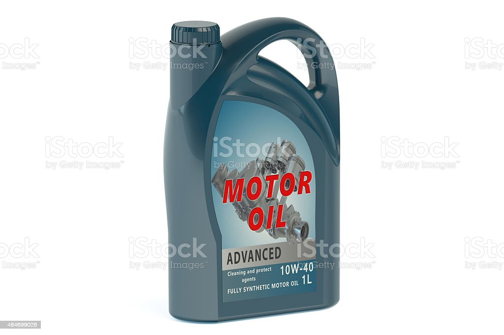 blue canister motor oil 1L stock photo