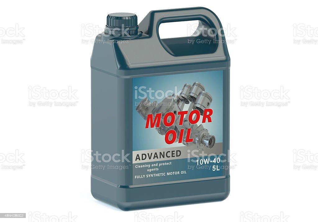 blue canister motor oil stock photo