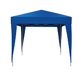 Blue Canopy Tent isolated on white background. 3D render