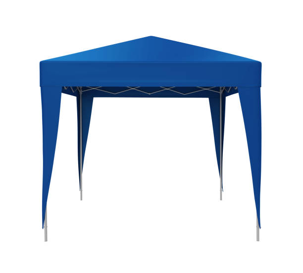 Blue Canopy Tent Isolated Blue Canopy Tent isolated on white background. 3D render tent stock pictures, royalty-free photos & images