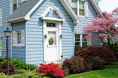 Beautiful blue house - well landscaped with plats, Springtime.