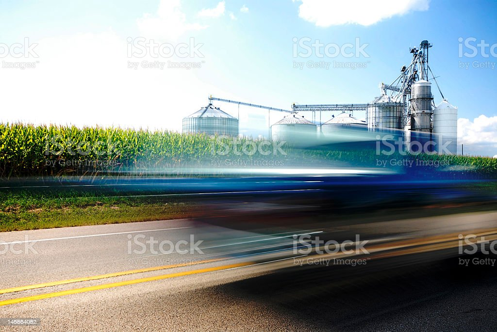 Blue Car & Corn Energy stock photo