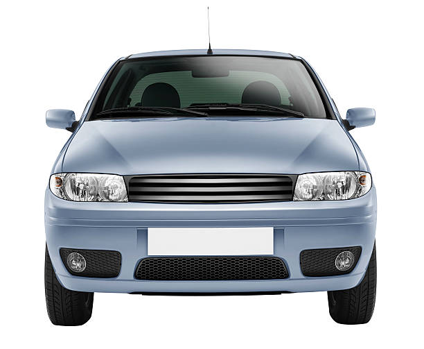 blue car front-side (isolated with clipping path over white background) - front view stock photos and pictures
