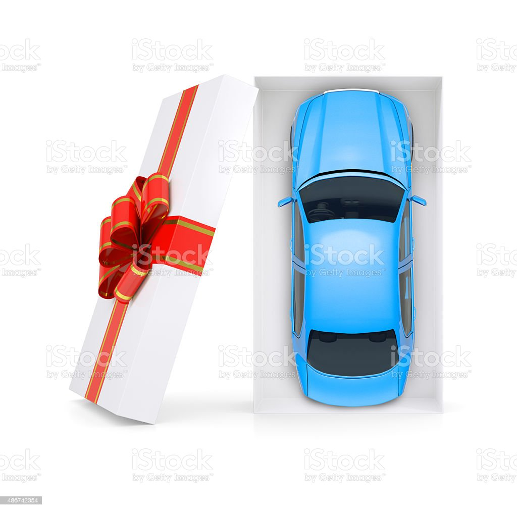 Blue car in gift box on white, top view stock photo