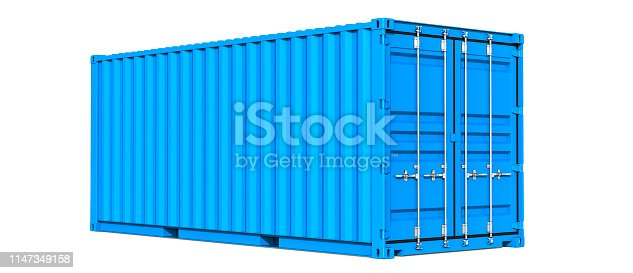 istock Blue cargo container shipping freight twenty feet. For logistics and see transportation. 3d Illustration, Isolated on white background 1147349158