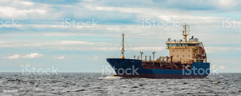 Blue cargo tanker ship royalty-free stock photo