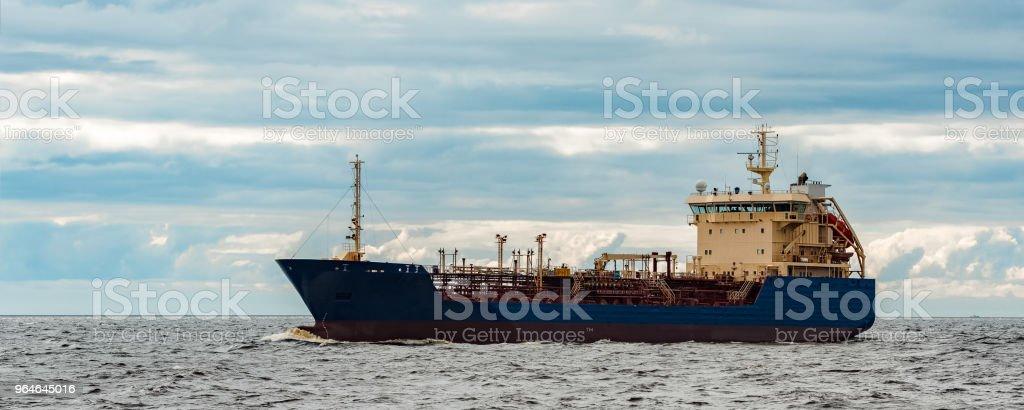 Blue cargo tanker ship royalty-free stock photo