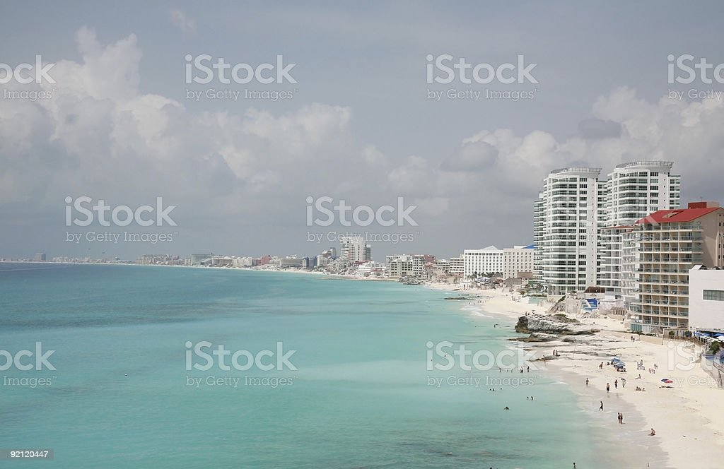 Blue Caribbean and White Sand Beaches of Cancun, Mexico royalty-free stock photo