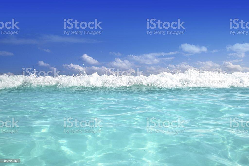 blue caribbean sea water wave horizon royalty-free stock photo