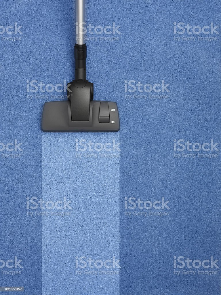 blue carpet being cleaned with stripe stock photo
