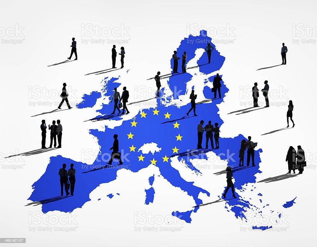 Blu cartografia dell'Unione europea In sfondo bianco - Foto stock royalty-free di Adulto