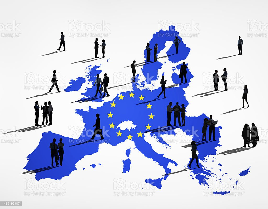 Blue Cartography Of The EU In A White Background stock photo