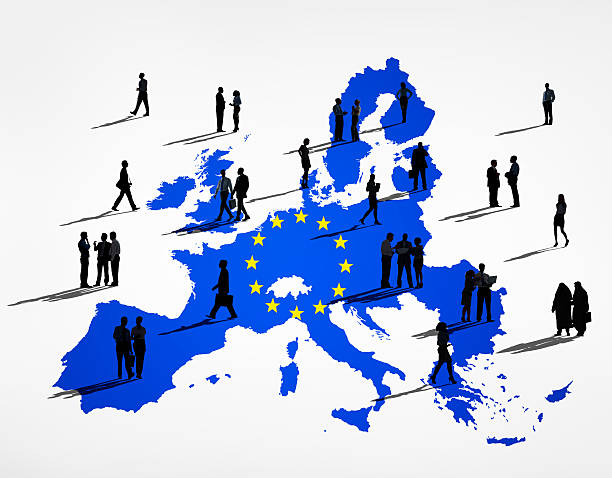 blue kartographie der eu in einem weißen hintergrund. - ec karte stock-fotos und bilder